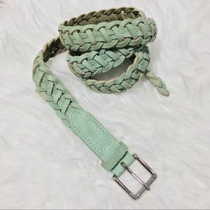Rag & Bone Mint Green Braided Leather Belt